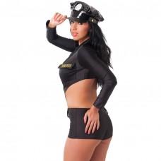 Black One Piece Police Uniform With Hat